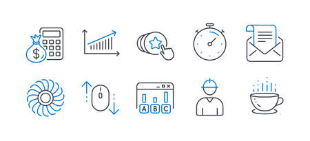 Set of Business icons, such as Finance calculator, Hold heart, Mail newsletter, Chart, Survey results, Scroll down, Timer, Engineer, Fan engine, Coffee cup line icons. Vector Ilustrace