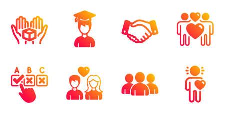 Halten Sie Box, Liebespaar und Mitarbeiter Handshake Line Icons Set. Gruppen-, Studenten- und Paar-Liebeszeichen. Korrektes Kontrollkästchen, Freundessymbole. Lieferpaket, Liebhaber. Leute eingestellt. Vektor