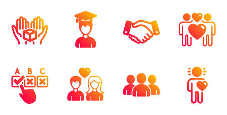 Hold box, Love couple and Employees handshake line icons set. Group, Student and Couple love signs. Correct checkbox, Friend symbols. Delivery parcel, Lovers. People set. Vector