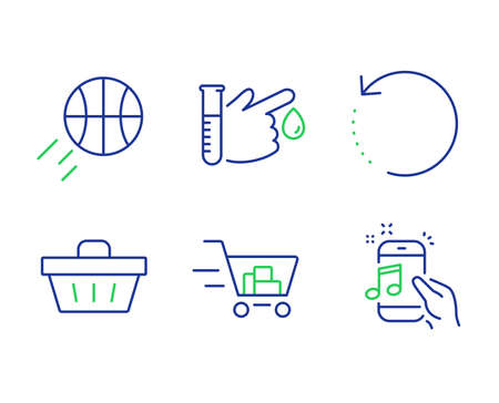 Shopping basket, Shopping cart and Blood donation line icons set. Recovery data, Basketball and Music phone signs. Sale offer, Online buying, Medicine analyze. Backup info. Vector