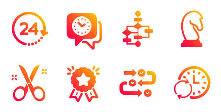 Ranking star, Scissors and Clock line icons set. Block diagram, 24 hours and Survey progress signs. Marketing strategy, Update time symbols. Winner medal, Cutting tool. Education set. Vector
