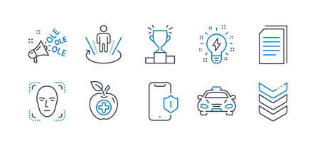 Set of Business icons, such as Medical food, Augmented reality, Smartphone protection, Face detection, Winner podium, Ole chant, Copy files, Taxi, Inspiration, Shoulder strap line icons. Vector