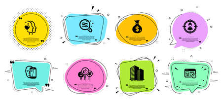 Money bag, Heart and Like line icons set. Chat bubbles with quotes. Face biometrics, Web timer and Skin condition signs. Headhunting, Skyscraper buildings symbols. Usd currency, Love head. Vector Ilustracja