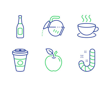 Takeaway coffee, Beer and Coffee pot line icons set. Cappuccino, Apple and Candy signs. Hot latte drink, Pub alcohol, Tea drink. Espresso cup. Food and drink set. Vector
