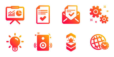 Approved checklist, Light bulb and Speakers line icons set. Approved mail, Shoulder strap and Work signs. Presentation, Time zone symbols. Accepted message, Lamp energy. Education set. Vector