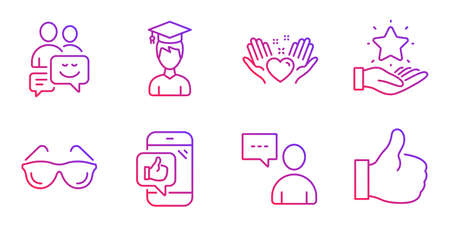 Users chat, Student and Hold heart line icons set. Eyeglasses, Loyalty program and Communication signs. Mobile like, Like symbols. Communication concept, Graduation cap. People set. Vector 向量圖像