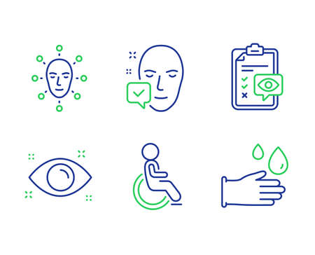 Disabled, Health eye and Face accepted line icons set. Face biometrics, Eye checklist and Rubber gloves signs. Handicapped wheelchair, Optometry, Access granted. Facial recognition. Vector