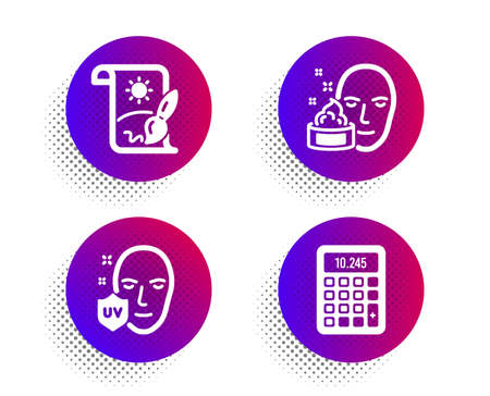 Creative painting, Face cream and Uv protection icons simple set. Halftone dots button. Calculator sign. Graphic art, Gel, Ultraviolet. Accounting device. Business set. Vector Vecteurs