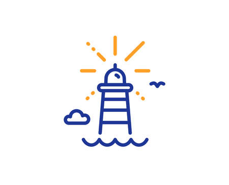 Beacon tower sign. Lighthouse line icon. Searchlight building symbol. Colorful outline concept. Blue and orange thin line lighthouse icon. Vector Stok Fotoğraf - 131047503