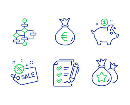 Survey checklist, Money bag and Saving money line icons set. Sale, Block diagram and Loyalty points signs. Report, Euro currency, Piggy bank. Shopping tag. Finance set. Vector