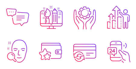 Employee hand, Change card and Text message line icons set. Creative design, Loyalty program and Face search signs. Employee results, 24h service symbols. Work gear, Payment method. Vector