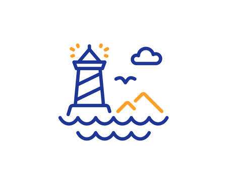 Beacon tower sign. Lighthouse line icon. Searchlight building symbol. Colorful outline concept. Blue and orange thin line lighthouse icon. Vector