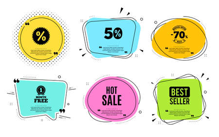 Hot Sale. Best seller, quote text. Special offer price sign. Advertising Discounts symbol. Quotation bubble. Banner badge, texting quote boxes. Hot sale text. Coupon offer. Vector 向量圖像