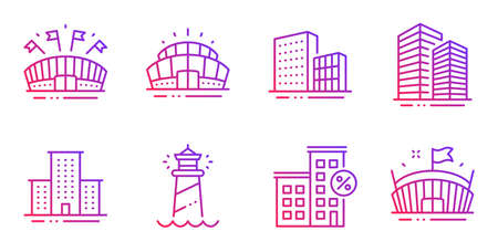 Arena stadium, Lighthouse and Skyscraper buildings line icons set. Sports arena, Buildings and Loan house signs. University campus symbol. Sport complex, Searchlight tower. Buildings set. Vector Çizim