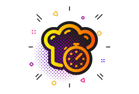 Frying stopwatch sign. Halftone circles pattern. Cooking timer icon. Food preparation symbol. Classic flat cooking timer icon. Vector 일러스트