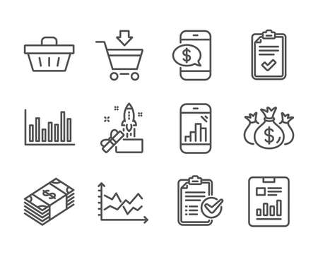 Set of Finance icons, such as Shopping basket, Check investment, Report document, Graph phone, Checklist, Online market, Bar diagram, Diagram chart, Phone payment, Survey checklist. Vector
