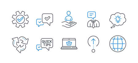 Set of Technology icons, such as Support service, Swipe up, Service, Recruitment, Approve, Quick tips, Recycle, Online shopping, Energy, Globe line icons. Human talking, Scrolling page. Vector Ilustrace