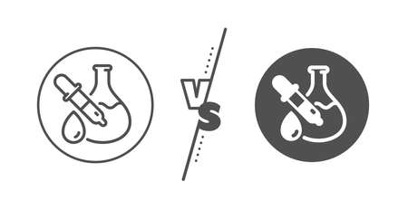 Laboratory flask sign. Versus concept. Chemistry experiment line icon. Analysis pipette symbol. Line vs classic chemistry experiment icon. Vector