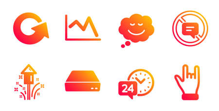 Speech bubble, Fireworks and 24h service line icons set. Line chart, Reload and Stop talking signs. Mini pc, Horns hand symbols. Comic chat, Christmas pyrotechnic. Business set. Vector Ilustração