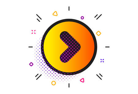 Next Arrowhead symbol. Halftone circles pattern. Forward arrow icon. Next navigation pointer sign. Classic flat forward icon. Vector