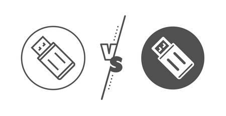 Memory stick sign. Versus concept. USB flash drive line icon. Portable data storage symbol. Line vs classic uSB flash icon. Vector