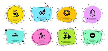 Organic tested, Collagen skin and Plants watering line icons set. Chat bubbles with quotes. Eye drops, No alcohol and Clean skin signs. Ambulance car, Uv protection symbols. Vector Ilustracja