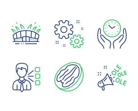 Third party, Safe time and Work line icons set. Arena stadium, Pecan nut and Ole chant signs. Team leader, Hold clock, Settings. Sport complex. Business set. Line third party outline icons. Vector