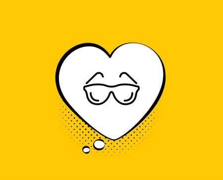 Eyeglasses line icon. Comic speech bubble. Oculist clinic sign. Optometry vision symbol. Yellow background with chat bubble. Eyeglasses icon. Colorful banner. Vector