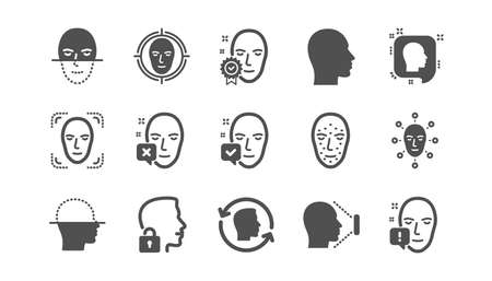 Face recognize icons. Biometrics detection, Face id and scanning. Identification classic icon set. Quality set. Vector