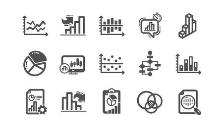 Charts and graphs icons. Infochart, Block diagram and Algorithm. Presentation classic icon set Quality set. Vector