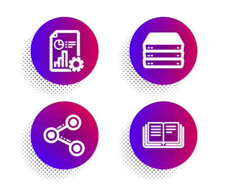 Share, Servers and Report icons simple set. Halftone dots button. Education sign. Follow network, Big data, Presentation document. Instruction book. Technology set. Classic flat share icon. Vector