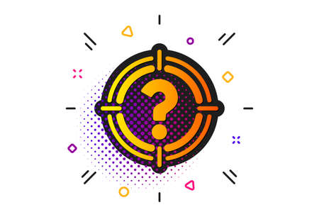 Aim symbol. Halftone circles pattern. Target with Question mark icon. Help or FAQ sign. Classic flat headhunter icon. Vector Illustration