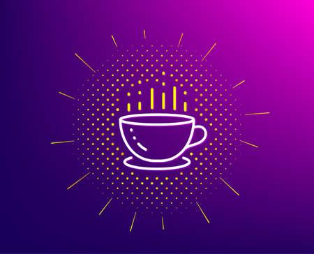 Coffee cup line icon. Halftone pattern. Hot tea drink sign. Hotel service symbol. Gradient background. Coffee cup line icon. Yellow halftone pattern. Vector 向量圖像