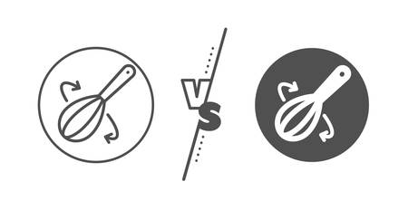 Cutlery sign. Versus concept. Cooking whisk line icon. Food mix symbol. Line vs classic cooking whisk icon. Vector