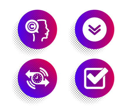 Scroll down, Timer and Writer icons simple set. Halftone dots button. Checkbox sign. Swipe arrow, Stopwatch, Copyrighter. Approved tick. Business set. Classic flat scroll down icon. Vector Ilustrace