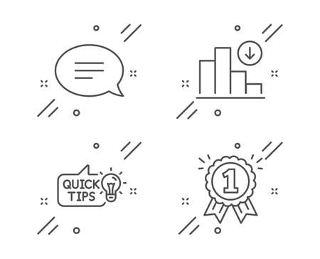 Education idea, Decreasing graph and Chat line icons set. Reward sign. Quick tips, Crisis chart, Speech bubble. First place. Education set. Line education idea outline icon. Vector  イラスト・ベクター素材