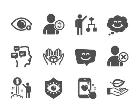 Set of People icons, such as Heart rating, Leaf, Smile face, Smile, User idea, Hold box, Income money, Eye protection, Farsightedness, Delete user, Algorithm, Messages classic icons. Vector Banque d'images - 131047602