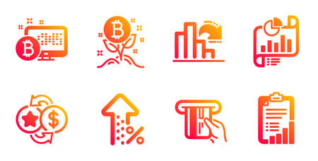 Decreasing graph, Bitcoin system and Bitcoin project line icons set. Loyalty points, Increasing percent and Credit card signs. Report document, Checklist symbols. Vector