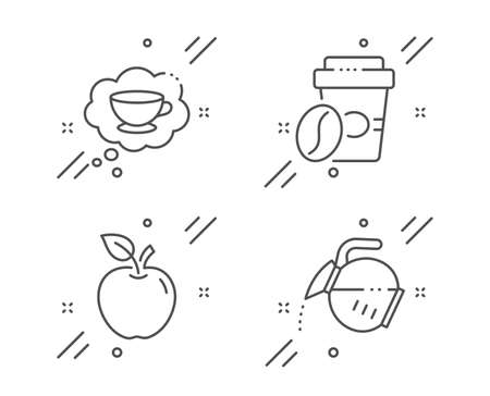 Apple, Takeaway coffee and Coffee cup line icons set. Fruit, Roasted bean, Think bubble. Tea drink. Food and drink set. Line apple outline icon. Vector