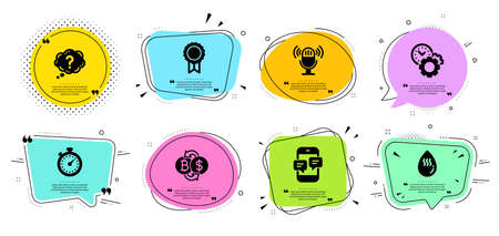 Microphone, Reward and Time management line icons set. Chat bubbles with quotes. Bitcoin exchange, Timer and Hot water signs. Question mark, Phone messages symbols. Mic, Best medal. Vector Çizim
