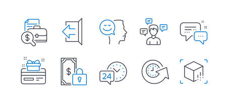 Set of Technology icons, such as Update time, 24h service, Employees messenger, Good mood, Sign out, Private payment, Conversation messages, Accounting report, Loyalty card line icons. Vector