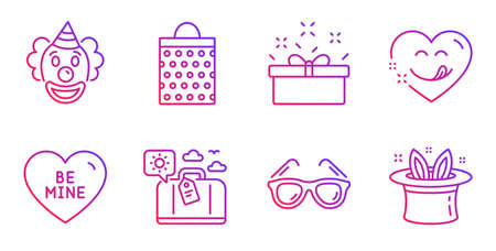 Travel luggage, Clown and Shopping bag line icons set. Yummy smile, Sunglasses and Present box signs. Be mine, Hat-trick symbols. Trip bag, Funny performance. Holidays set. Vector Ilustração