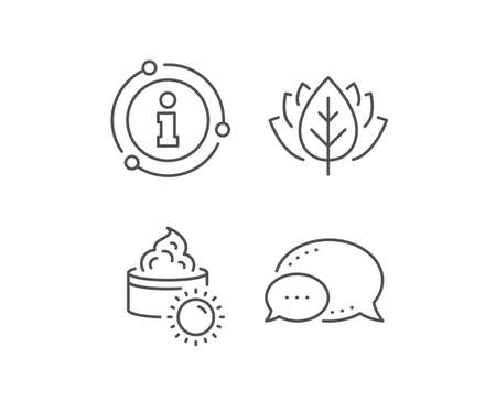 Sun face cream line icon. Chat bubble, info sign elements. Skin care sign. Cosmetic lotion symbol. Linear sun cream outline icon. Information bubble. Vector