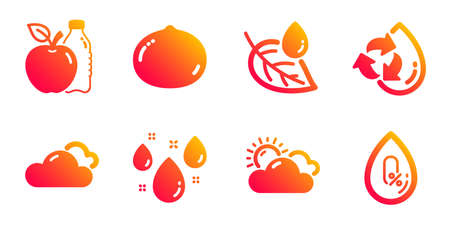 Apple, Leaf dew and Rainy weather line icons set. Sunny weather, Recycle water and Macadamia nut signs. No alcohol symbol. Diet food, Water drop. Nature set. Gradient apple icons set. Vector Illustration