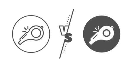 Kick-off sign. Versus concept. Whistle line icon. Referee tool symbol. Line vs classic whistle icon. Vector Illustration