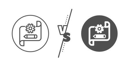 Engineering tool sign. Versus concept. Cogwheel blueprint line icon. Edit settings symbol. Line vs classic cogwheel blueprint icon. Vector Illusztráció