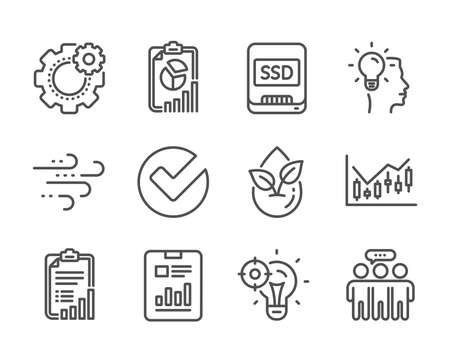 Set of Science icons, such as Verify, Checklist, Organic product, Seo idea, Windy weather, Cogwheel, Idea, Report document, Employees group, Financial diagram, Report, Ssd line icons. Vector Ilustracja