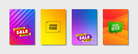 Attention please. Cover design, banner badge. Special offer sign. Important information symbol. Poster template. Sale, hot offer discount. Flyer or cover background. Coupon, banner design. Vector Stockfoto - 131047673