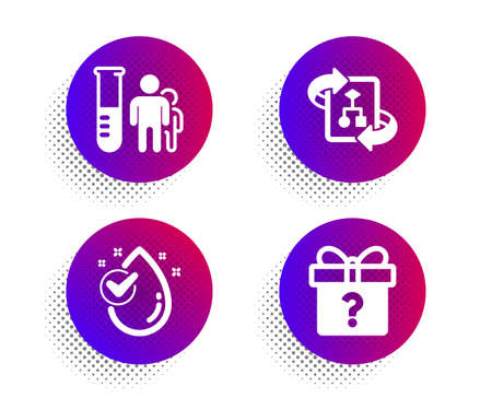 Technical algorithm, Water drop and Medical analyzes icons simple set. Halftone dots button. Secret gift sign. Project doc, Clean aqua, Medicine results. Unknown package. Business set. Vector