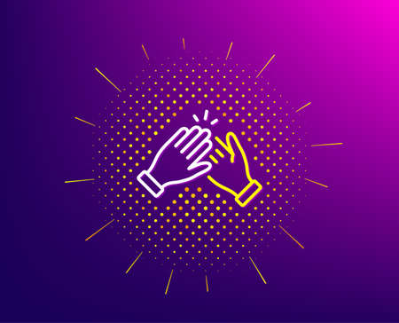 Clapping hands line icon. Halftone pattern. Clap sign. Victory gesture symbol. Gradient background. Clapping hands line icon. Yellow halftone pattern. Vector